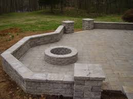 Small Picture Patio with seat wall columns and fire pit Hardscapes