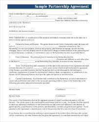 Sample Partnership Agreement Form 7 Sample Business Partnership Agreements Pdf Doc