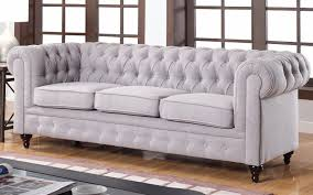 ... Charleston Classic Chesterfield Bonded Leather Sofa In Stone ...