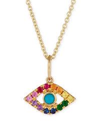 sydney evan14k small rainbow sapphire evil eye pendant necklace