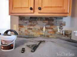 kitchen backsplash light cherry cabinets. Mid Century Kitchen Decoration With Lowes Natural Stone Tiles Backsplash, Light Cherry Wood Backsplash Cabinets C