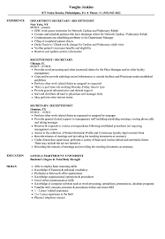 Receptionist Resume Examples Secretary Receptionist Resume Samples Velvet Jobs 78
