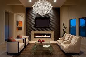 Example of a mid-sized trendy living room design in Phoenix with beige walls ,