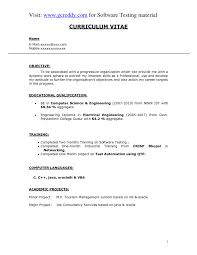 Mba Hr Fresher Resume Objective New Sample For Freshers In Civil