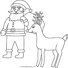 Santa Claus With Rudolph Coloring Page Christmas