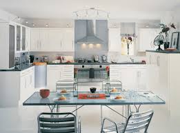 Small Kitchen Dining Table Enchanting White Small Kitchen Ideas With Glass Dining Table Also