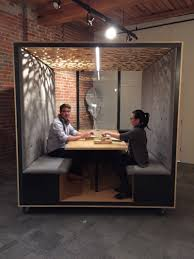office hack. The Meeting Rooms Are Essentially Big Plywood Cubes Mounted On Castors. They Measure 6 ½ Feet By 7 Feet, And As You Can See, Aesthetic Is Office Hack I