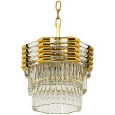bakalowits gold plated brass chandelier with crystal rods austria 1970s