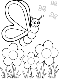 Little Bear Holding Spring Flower Coloring
