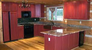 rustic countertops for cabins decoration wondrous kitchen designs for log cabins using red painted cabinets under