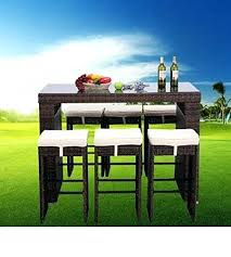 wicker bar table 7 piece outdoor rattan wicker bar table and chairs patio dining set mix wicker bar table