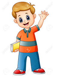 vector vector ilration of cartoon boy holding a book with waving hand