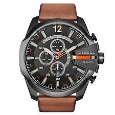 diesel watches h samuel diesel mens mega chief black dial brown leather strap watch product number 2834022
