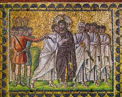 ravenna s apollinare nuovo mosaic showing the betrayal of christ c 500