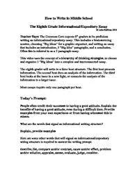 8th Grade Essay Examples Middle School Essay Examples