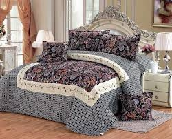 double full size cotton damask pattern turquoise bedding sets