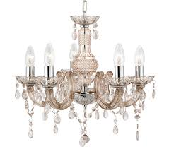 searchlight marie therese 5 light chandelier mink finish with acrylic detail droplets 1455 5mi