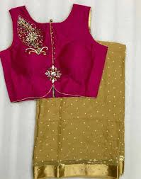Pearl Designer Blouses Online Pearl Georgette Saree With Readymade Blouse Size 36