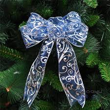 Aliexpress.com : Buy 2Pcs/lot 18*30cm long shiny silver pressed Beautiful  blue Ribbon Christmas Tree Bow for Christmas Tree Gifts Decoration Supplies  from ...