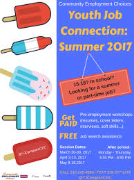 students community employment choices do you know someone aged 15 18 who needs help finding a part time or summer job for more information click on the poster below or give us a call at