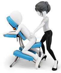 3d man an masseuse with massage chair stock ilration ilration of treatment sitting