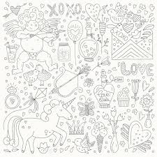 ロマンチックなベクトル要素のかわいい落書きスケッチ手描き落書きバレンタインデーの文字やイラスト日
