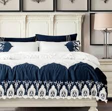 ivarose princess white blue bedding set luxury 4 lace duvet cover bed sheet bedspread bedclothes cotton linen queen king elegant bedding black and white
