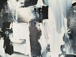 deep modern black and white abstract acrylic painting home