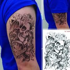мужская черная временная татуировка череп часы наклейки на руку съемная большая
