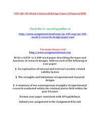 Types Of Field Research Design Uop Cja 345 Week 2 Research Design Paper Pages 1 1 Text