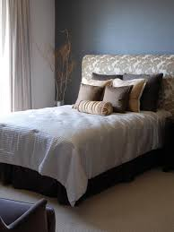 brown upholstered headboard. Contemporary Brown Neutral Bedroom With Brown Upholstered Bed In Headboard M