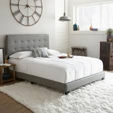 Contour Rest Michal Queen-Size Simulated Leather Platform Bed Frame - Gray