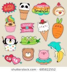 <b>Set</b> of fashion <b>patches</b>, <b>cute</b> colorful badges, fun cartoon icons ...
