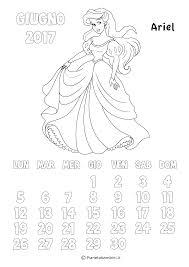 Calendario 2017 Delle Principesse Da Colorare Per Bambine Con