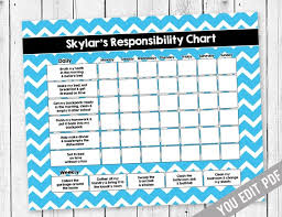 Chore Chart Template For Teens Chore Chart For Teens Reward Chart Responsibility Chart Weekly Chore Chart Behavior Chart Kids Chore Chart Printable You Edit Pdf