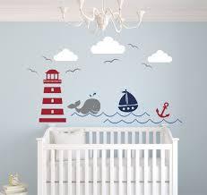 nautical theme wall decal decor nursery decals whale and sailboat basketball sea themed beach mural