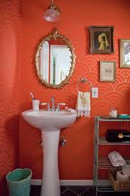 Coral Colored Shower Curtain Besides Crown Molding Cathedral Coral Color Bathroom Decor
