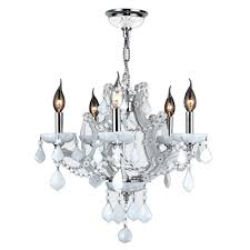 lyre collection 5 light white crystal and chrome chandelier