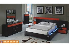 Ibeza Wenge & Orange Bedroom Set with Lights by american Eagle