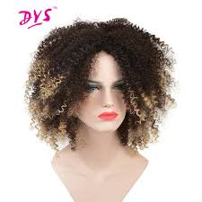 Natural Hair Style Wigs aliexpress buy deyngs short afro kinky curly synthetic wigs 6531 by stevesalt.us