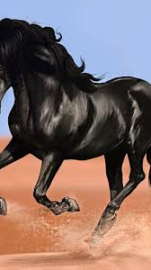 Download 1080x1920 Black Horse, Artwork ...
