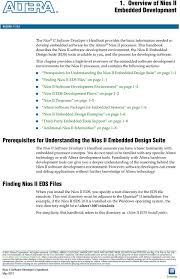 Nios Ii Embedded Design Suite 1 Overview Of Nios Ii Embedded Development Pdf Free Download