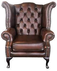 chesterfield antique brown genuine leather queen anne armchair co uk kitchen home