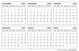 printable 6 month calendar 2019 6 month calendar november 2018 april 2019 november 2018 to april