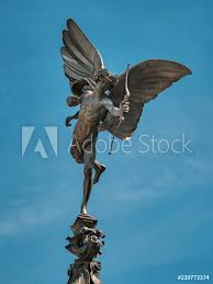 photo art print eros statue on top of the shaftesbury memorial fountain in piccadilly circus london uk europosters