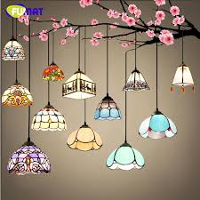 FUMAT Stained Glass Lights European Art Glass Lampshade Kitchen Living Room  Lighting For Dining Room LED