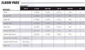 Easton Shoulder Pad Sizing Chart Easton Mako Elbow Pads Sr