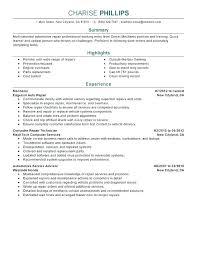 Mechanic Resume Sample Auto Mechanic Resume Auto Mechanic Resume