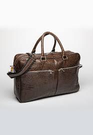 leather briefcase slim crocodile print