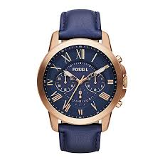 fossil watches ernest jones fossil grant men s chronograph blue leather strap watch product number 2051125